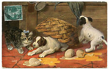 CHIENS ET CHAT. LES OEUFS CASSéS. DOGS AND CAT. BROKEN EGGS. HUND UND  KATZE
