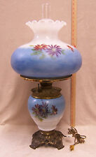 Vintage Antique Gas Lamp Converted Electric Blue Floral Hand Painted Fostoria