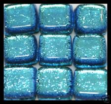 Lot of 6 LT BLUE Square SPARKLE Fused Glass DICHROIC Cabochons NO HOLE Beads