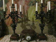 19th c French Louis XVI  Bronze Mauve Marble Mantel Clock/Candelabras 3 p set