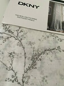 NEW DKNY Window Curtains TWO 2 Panels White Gray 50 x 96 Promenade Filtering