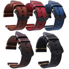 For Samsung Gear S3 /Garmin Active 22mm Cowhide Leather Durable Watch Band Strap