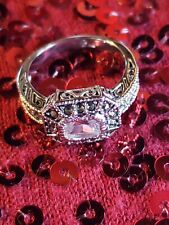 HSN Victoria Wieck Sterling Silver Absolute 5.76 ct  Cushion Ring SZ 8