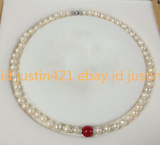 7-8mm Natural White Fresh water Cultured Pearl & 12mm Red Ruby Necklace 18'' AAA