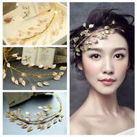 Ladies Charm Crown Gold Leaf Headband Women Tiara Cinnamon Bridal  Headpieces