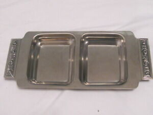Vintage International Decorator Stainless Steel 2 Compartment Serving Dish 5009