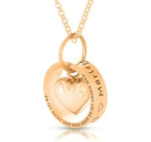 Namenskette Gravur Ring rosé vergoldet Familie Schmuck Geschenk Taufe Mutter