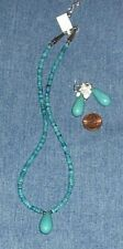 Genuine Turquoise and Sterling Silver Necklace & Earrings Set FREE SHIPPING
