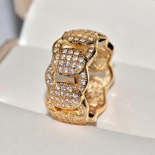 14K Solid Yellow Gold White Sapphire Ring Wedding Women Men's Jewelry Size 8-13