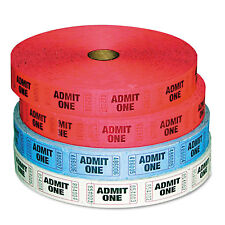 Pm Company Admit-One Ticket Multi-Pack 4 Rolls 2 Red 1 Blue 1 White 2000/Roll
