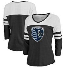 Sporting Kansas City Fanatics Branded Women's Distressed Primary Logo Raglan