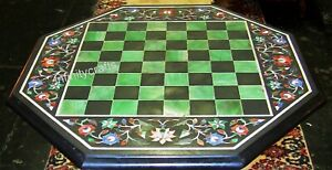 27 Inch Black Octagon Marble Table Top Marquetry Art Coffee Table for Home Decor
