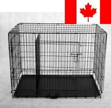 PawHut Large 42-Inch Two Door Folding Metal Dog Crate Cage Kennel including D...