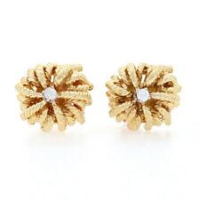 Yellow Gold Diamond Stud Earrings - 18k Round Brilliant Rope-Textured Pierced