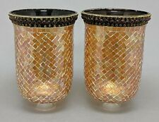 """Glass Hurricane Shades Gold Mosaic for Candle Holders 6""""Dia x 10""""Tall Set/2"""
