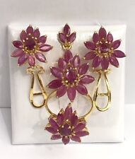 14k Solid Gold Cluster Pear Shape Set Earrings Ring Pendant, Natural Ruby 11.5CT