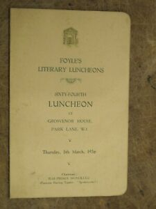 1936 Grosvenor House Park Lane London menu - Foyle's Literary Luncheon