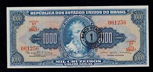 BRAZIL 1 CRUZEIRO NOVO ON 1000 CRUZEIROS ( 1966-67 )  (3852) PICK # 187a  AU-UNC