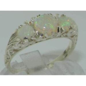 VINTAGE style Solid 10ct White Gold Natural Fiery Opal Trilogy Ring