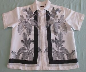 Black and White Casual Shirt by Centro Palm Tree Print Small bruises Sz XL