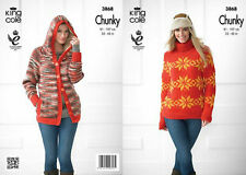 King Cole Chunky  Knitting Pattern 3868  Hoodie  & Sweater