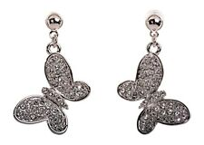 Earrings Rhodium Authentic 7185a Swarovski  00001C28 Elements Crystal Butterfly Pierced