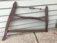 VTG Antique Saw Single Handle Harp Hand Buck Tree Rustic Farmhouse Decor RED