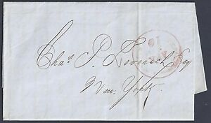 US 1850 NEW ORLEANS 10 CENTS DATED CANCEL IN RED ON FOLDED LETTER TO NY