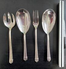 """4 Table Solid Serving pieces 10"""" Christofle Aria France 1984 Ribbed Salad hallmk"""