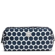 NEW MICHAEL KORS KIKI WHITE+NAVY BLUE DOT NYLON MEDIUM POUCH,CASE,COSMETIC BAG