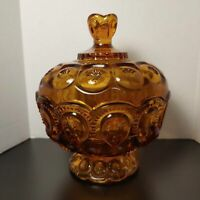 Amber glass, moon and stars covered dish