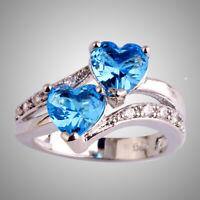 Wedding Double Heart Blue & White Topaz Gemstone 925 Silver Ring Size L N P R T
