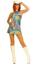 Go-Go Girl 60s Mod Disco Costume Mini Dress Boots Retro Groovy Baker Boy Hat