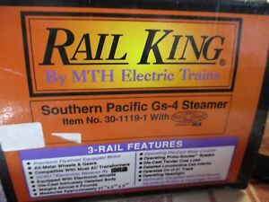 RAILKING/MTH O-GAUGE 30-1119-1 SOUTHERN PACIFIC Gs4 STEAMER DAYLIGHT PROTOSOUND
