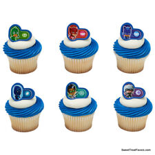 PJ MASKS Party CUPCAKE Birthday Favors Topper Decoration Rings Gekko Catboy 12PC