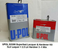 U-POL Super Fast Clearcoat Lacquer 3:1 mix  S2086 5L + S2030 Hardener 2.5Ltr