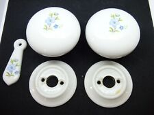 Antique original decorative ceramic door knobs with roses & escutcheon (PDK103)