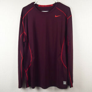 Nike Mens XL Pro Combat Fitted Shirt Tshirt Brown Red Long Sleeve Base Layer