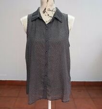 Dotti Black and White Blouse, Hipster, Retro, Vintage Style, Rockabilly Size 12