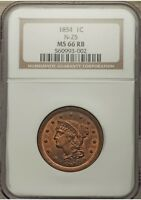 1854 1C N-25 MS66RB Red-Brown Coronet, Braided Hair Large Cent Rare!