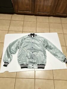 Vintage  Silver SATIN BOMBER Jacket Brown and White USA MADE Large Snap Button