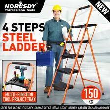 4-Steps Folding Ladder Anti-Slip Wide Steps Steel Frame Soft Grip Top Tool Tray