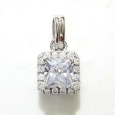 Princess Diamond Halo Pendant SOLID 14k White Gold Charm Women Fine Jewelry S31