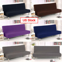 5# Folding Armless Elastic Couch Lounge Futon Sofa Cover Protector Slipcovers US