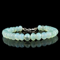 138.50 CTS NATURAL BLUE CHALCEDONY UNTREATED ROUND SHAPE BEADS BRACELET (RS)