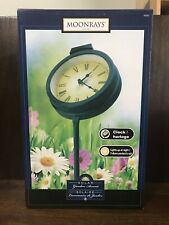 New listing Solar Powered Led Light Up Garden Clock On Stake - New In Box