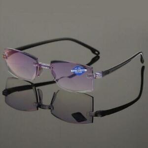 Men Women Rimless Reading Glasses Bifocal Far Near Anti Blue Light Magnification