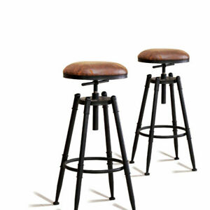 Levede 2x Industrial Bar Stools Kitchen Stool PU Leather Barstools Swivel Chairs