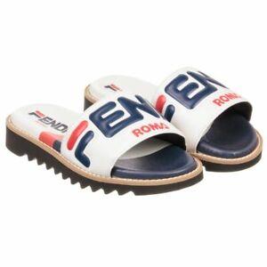 NIB NEW Fendi Fila Mania Unisex girls boys red white blue logo sandals 31 US 13