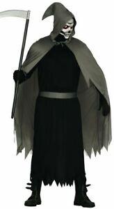 Mens Grim Reaper Costume Dapper Death Halloween Horror Fancy Dress Adults Outfit